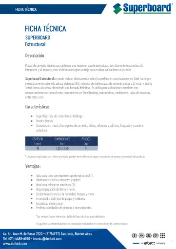 Ficha Técnica Superboard Estructural